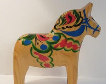 5 Inch Natural Wood Grannas Olsson Label Swedish Dala Horse - Scandinavian Collectible