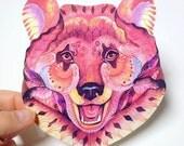 Bear sticker, animal face 100% waterproof vinyl label.