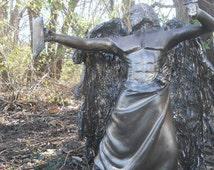 archangel sculpture cast fiberglass male angel figurine faux bronze finish antiqued limited edition collectible outdoor art