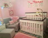 Custom Made to Order Baby Girl Nursery crib bedding Pink Gray Chevron