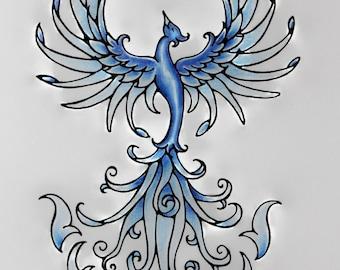 Blue Fire Phoenix Rising Original Art