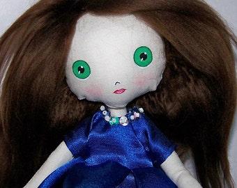 Cloth doll, muslin doll, soft doll, artisan doll, OOAK doll, hand-made, doll, hand-sewn doll, Gothic doll, kawaii doll