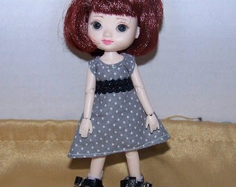 Handmade Amelia Thimble clothes - gray with white polka dots and black trim dress