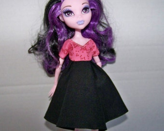 Handmade Monster High doll clothes - pink and black dress