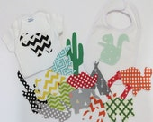 Baby Shower Activity Iron on Applique Bodysuit Bib Activity Set of 15 Gender Neutral Iron on Appliques