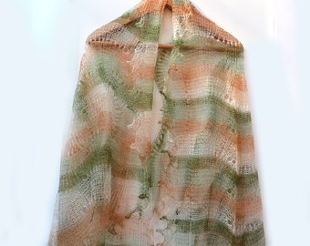 WOOL Lace Shawl ,CROCHETED Russian Handmade Goat Wool Neck Scarf Green Warm Winter Neckwear
