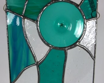 Hand Made Turquoise Glass Roundel in Stained Glass Paneli MTO