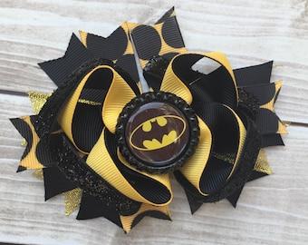 NEW ITEM Boutique Baby Girls Layered Batman Hair Bow Batman Hair Clip Batman Birthday Super Hero Hair Bow Batman