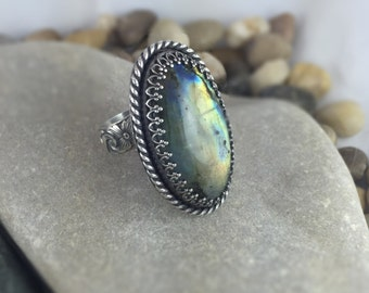 Labradorite Ring, Adjustable Ring, Silver Ring