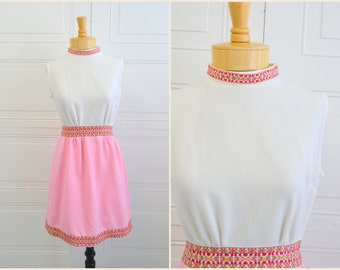 1960s Pink and White Mini Dress