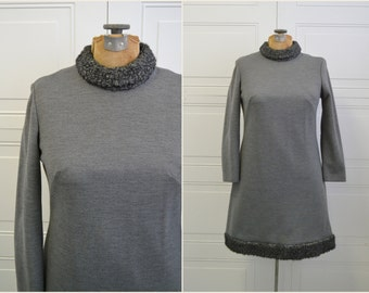 1960s Gray Wool and Curly Lamb Dress