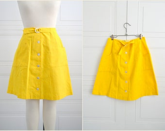 1960s Bright Yellow Midge Grant A-Line Mini Skirt