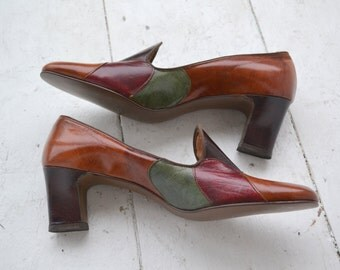 1960s Patchwork Loafer Heels, Size 8 1/2 AAA