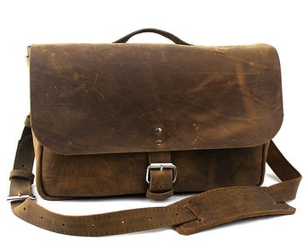 "Medium 14"" Original Courier Mail Bag Made in the U.S.A. - Distressed- 14-COUR-DIS-LAP"