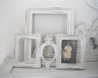 white picture frames gallery frames wedding decor bedroom decor cottage chic OPEN photo frames distressed aged chippy French country cottage