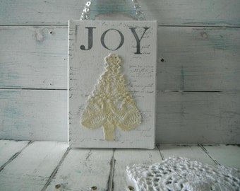 christmas decor mixed media art joy sign christmas tree lace tree french country script hang tag wall art door hanger holiday decor 7 x 5