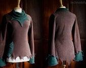 Elvish Jumper  ~ Brown Pixie Top ~ Fleece ~ Made to Measure ~ Faerie Waer ~ Quintessential Fairy Camouflage ~ technodolly
