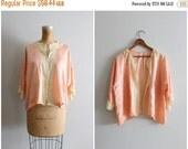 20% SALE 1930s peach silk bed jacket - floral silk & antique cream lace trim / vintage 30s lingerie - silk flapper jacket / boudoir photogra