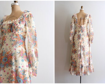 70s floral print gauze maxi dress - vintage 70s maxi dress / Virgin Suicides dress - summer festival dress  / hippie bridesmaid dress