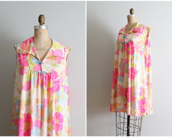 vintage 60s Vanity Fair neon pastel floral nightie - nylon antron nightgown / 60s mod floral print nightie / Kawaii dress