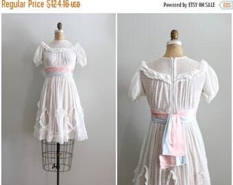 SALE / 1930s girls white dotted swiss net lace party frock - ladies xxs / pink & blue satin cummerbund sash - vintage wedding / jr bridesmai