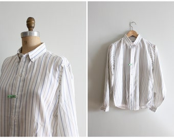 80s oxford cloth blouse - ladies striped oxford shirt / Ms Sero Shirtmakers - 80s preppy button down shirt / blue striped dapper shirt