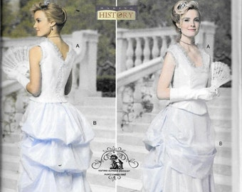 Butterick B5696 Historical Victorian Southern Belle 2-Pc Dress Top And Skirt Costume Sewing Pattern 5696 Steampunk Size 8, 10, 12 and 14