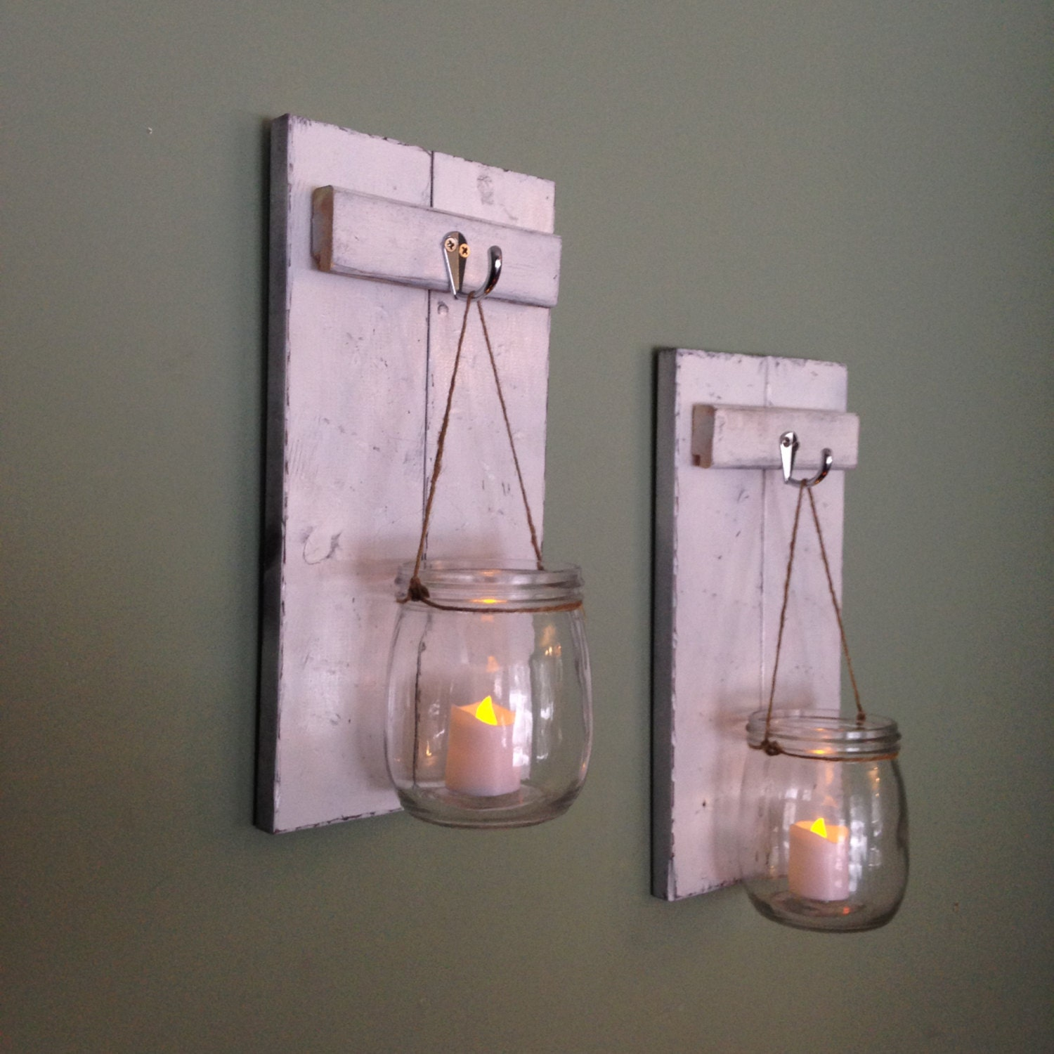How To Make Wall Sconces For Candles : Wooden Candle Holder Mason Jar Wall Sconce Rustic by CoveDecor