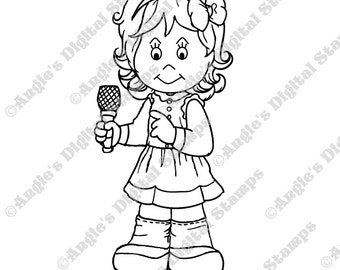 Daisy May Singing Digital Stamp Image