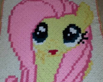 """Crocheted """"Fluttershy"""" inspired throw"""