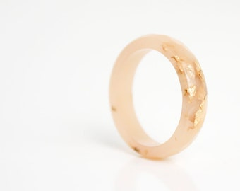 size 7.5 thin multifaceted stacking ring | nude eco resin with metallic gold leaf flakes