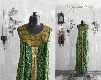 silk dress, one of a kind dress, summer dress, sun dress, boho dress, handmade dress, long summer dress, holiday dress, green dress, Size S