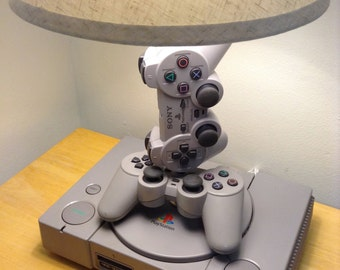 Playstation Desk Lamp - PS1 Console and Controller Sculpture Light with Lamp Shade