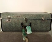 Fabulous greeny blue VINTAGE Suitcase. Bon Voyage. Great storage. Industrial Decor / Vintage Decor