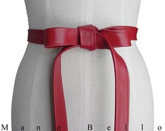 Classic belt - Red Leather Belt - Lambskin belt - Basic belt - Leather Strap belt - Minimalist belt - Basic Leather Tie Belt - Coat Belt