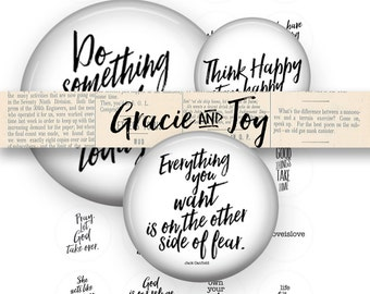 Inspirational Quotes -Digital Collage Sheet- 20 mm inch circle Cabochon- Instant download- hand lettered, magnets, buttons, Gracie and Joy