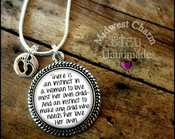 Adoption necklace...925 sterling silver plated...foster mom...grandma...mom necklace