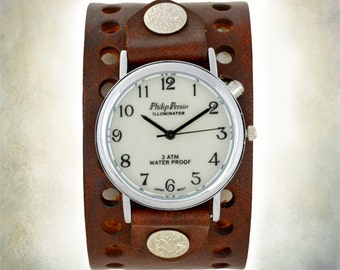 Handmade Two Hole Leather Cuff Watch - Indiglo Back Light