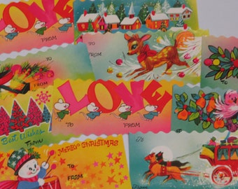 Large Beautifully Colored 1960's Vintage Christmas Gift Tags
