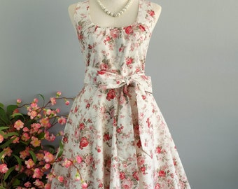 My Lady - White Red Floral Dress Spring Summer Sundress Red Floral Party Dress Floral Bridesmaid Dress Red Floral Tea Dress XS-XL