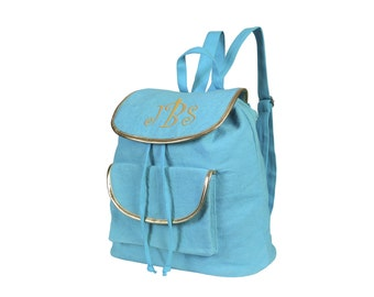 monogrammed durry backpack turquoise with gold trim