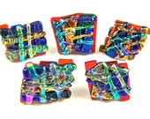 "Dichroic Knobs - Set of 5 - Cabinet or Drawer Pull Handle - Abstract Mosaic 1"" / 25mm - Red Blue Gold Copper Green - Custom Made Fused Glass"