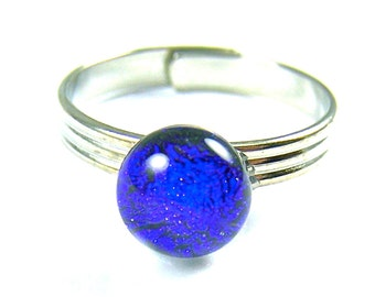 "Tiny Adjustable Glass Ring - 1/4""  7mm - Cobalt Sapphire Blue Round Dot - Silver Plated Glass Ring"
