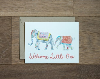 New baby card - elephants - mom and baby - congrats - welcome little one