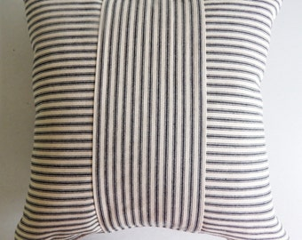 Ticking Throw Pillow Cover Black Stripe - Rustic Modern Farmhouse Pillow