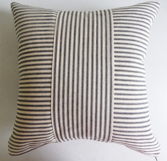 Ticking Throw Pillow Cover Black Stripe Rustic Modern
