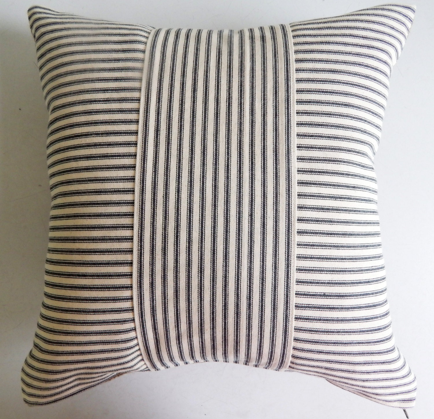Throw Pillow Covers Farmhouse : Ticking Throw Pillow Cover Black Stripe Rustic Modern
