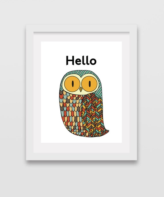 Owl Decorative Owls Mid Century Modern Nursery Decor Hello Sign Forest Animals Scandinavian Modern Retro Minimalist Mint Woodland Nursery