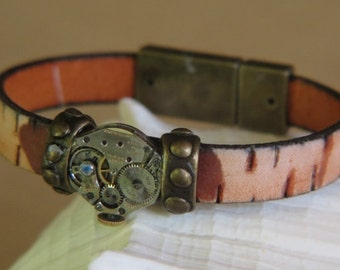 Flat Textured Beige Tone Leather - Goldtone beads - Focal is old watch works - Goldtone clasp