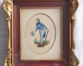 Vintage Ornate Framed Needlepoint PETIT POINT Victorian style picture